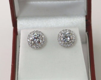 29ccf874f 2 Carat Round Halo earrings