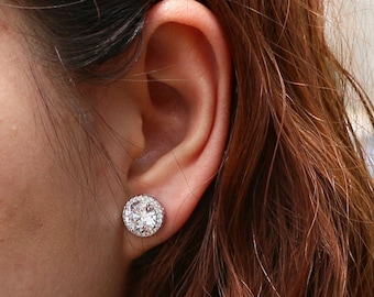 358ff12c7 4.2 ctw Round Halo Earrings