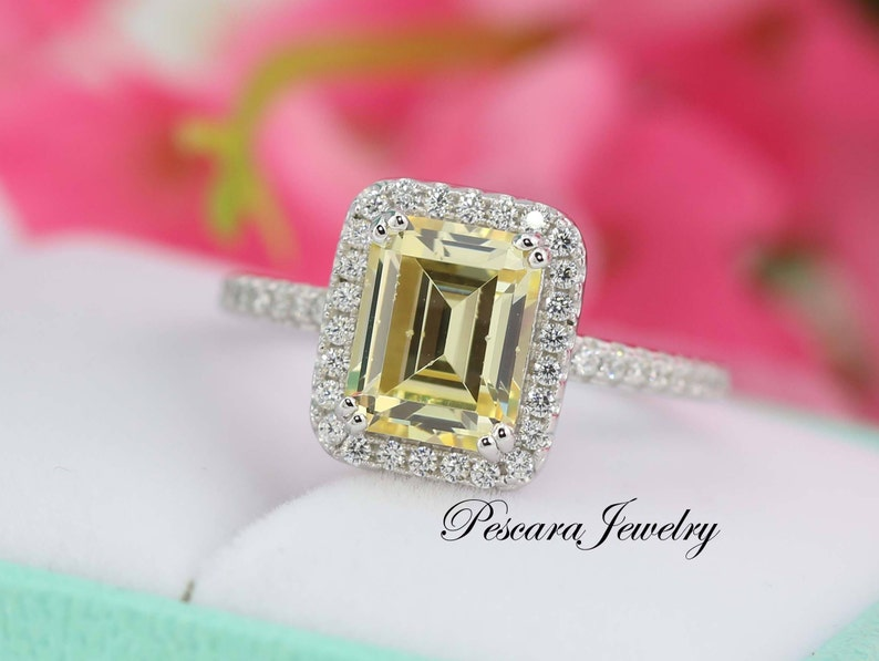 8ecc501ad514c 3.4ctw Light Canary Yellow Emerald Cut Halo Engagement Ring, Bridal Ring,  Promise Ring, Anniversary Ring, Wedding Ring, Sterling Silver