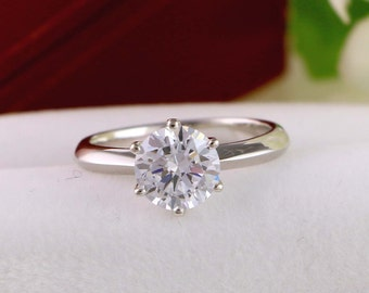 2 Ct Round Solitaire Engagement Ring - Classic Solitaire Ring - six prongs tapered band - Sterling Silver