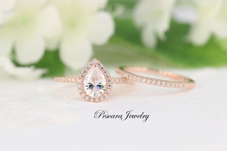 1.3ctw Rose Gold Engagement Ring Pear Halo Wedding Ring Set  image 0