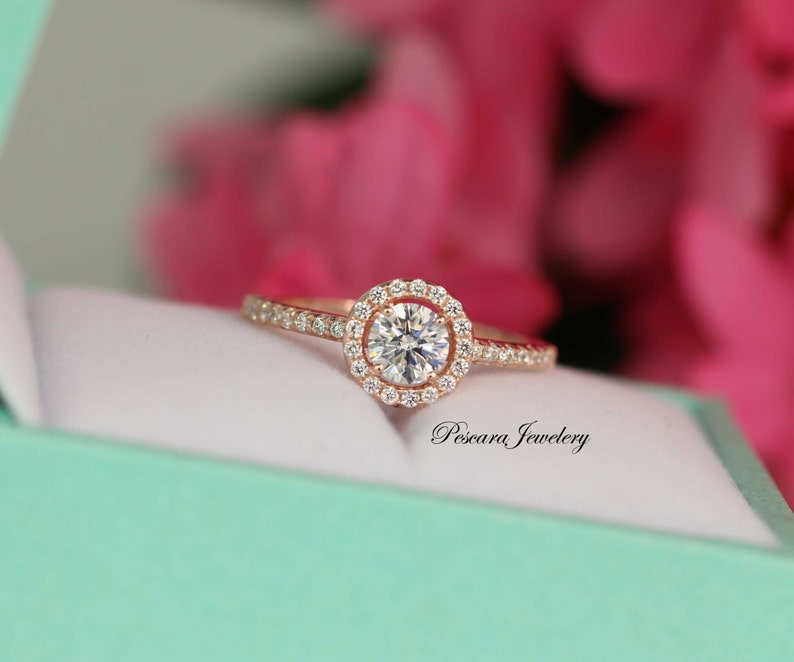 f19928261 Rose Gold Engagement Ring Round Halo Ring Wedding Ring   Etsy