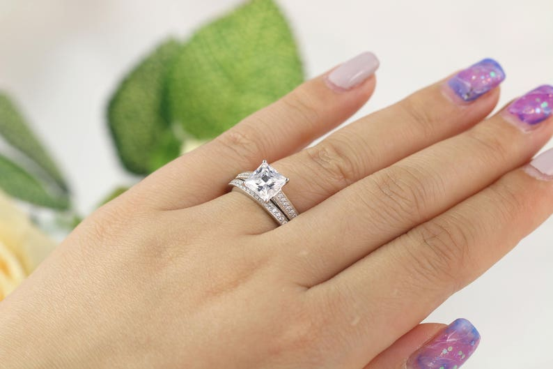 Solitaire Engagement Ring 2.28 ctw Princess Cut Ring Sterling Silver Bridal set Wedding Ring set Promise Ring