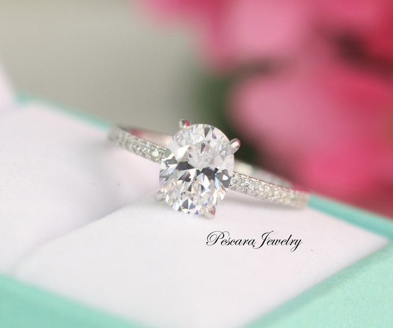 2.2ct tw Classic Oval Engagement Ring  Solitaire ring  Oval image 0