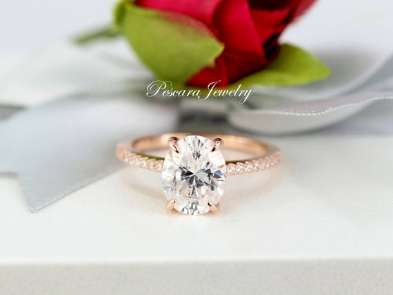 3.26ctw Rose Gold Oval Engagement Ring 3 Carat Oval Ring  a29571350