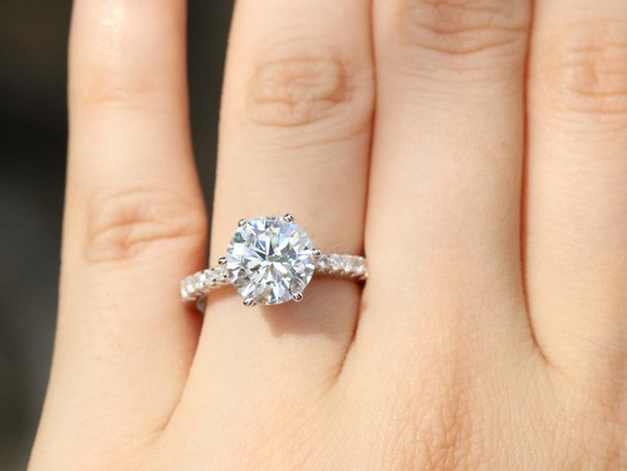 3 Carat Round Solitaire Ring Engagement Ring Promise Ring Etsy