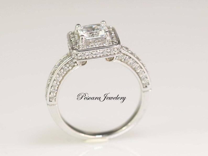 1 75ctw Princess Cut Engagement Ring Princess Halo Ring Bridal Ring Wedding Ring Anniversary Ring Sterling Silver
