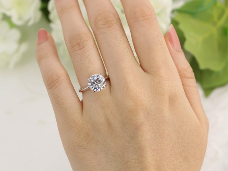 a095aa03c8aeab 3ct Classic Round Solitaire engagement ring 3ct Solitaire | Etsy