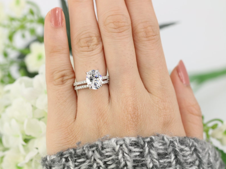 d094799e00e 3.5ctw Oval Solitaire Ring set Engagement Ring 3 Carat Oval