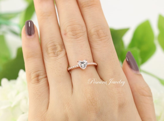 04baede7b9582 Rose Gold Engagement Ring, Rose Gold Heart Shaped Ring, 925 Heart Shaped  Engagement Ring, Solitaire Diamond CZ Ring, Sterling Silver
