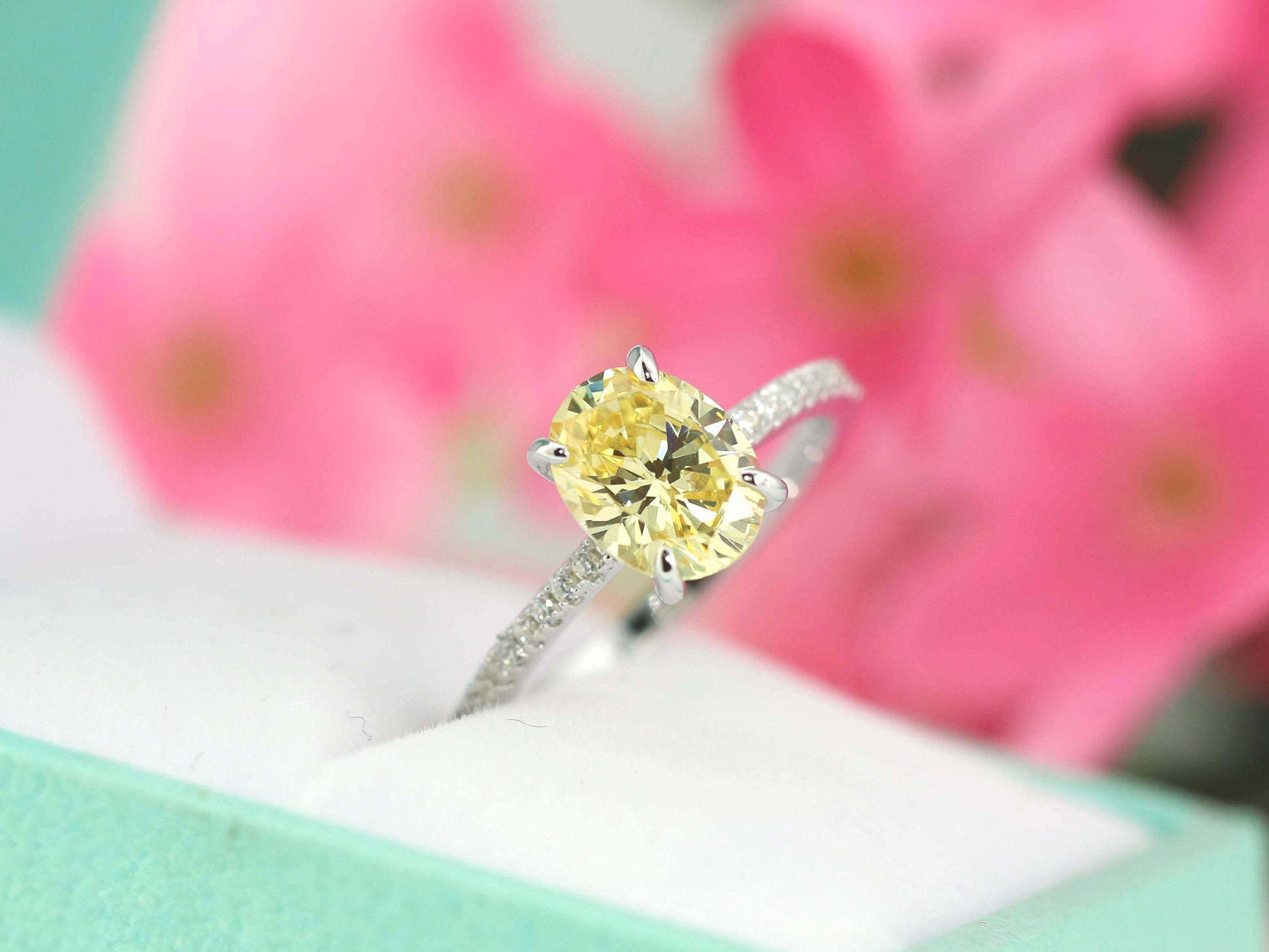 2.2ct tw Light Canary Yellow Engagement Ring Classic Oval | Etsy