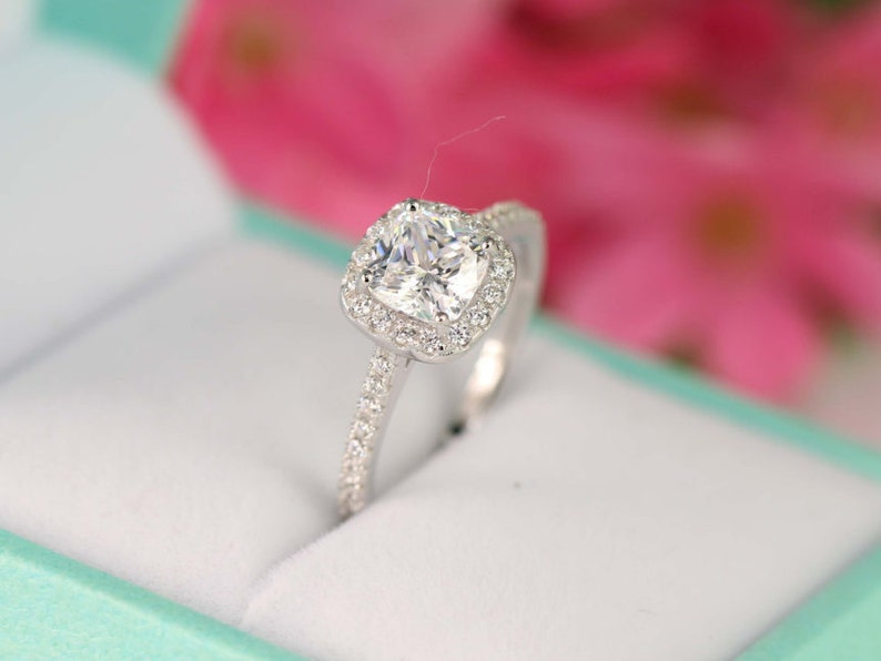 82da177038c6 1.3 ct.tw Cushion Cut Ring Sterling Silver Ring Engagement