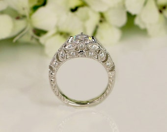 1.36 ctw Art Deco Engagement Ring, Vintage Inspired Ring, Antique Style, CZ Diamond Simulants Round Cut Ring, Sterling Silver