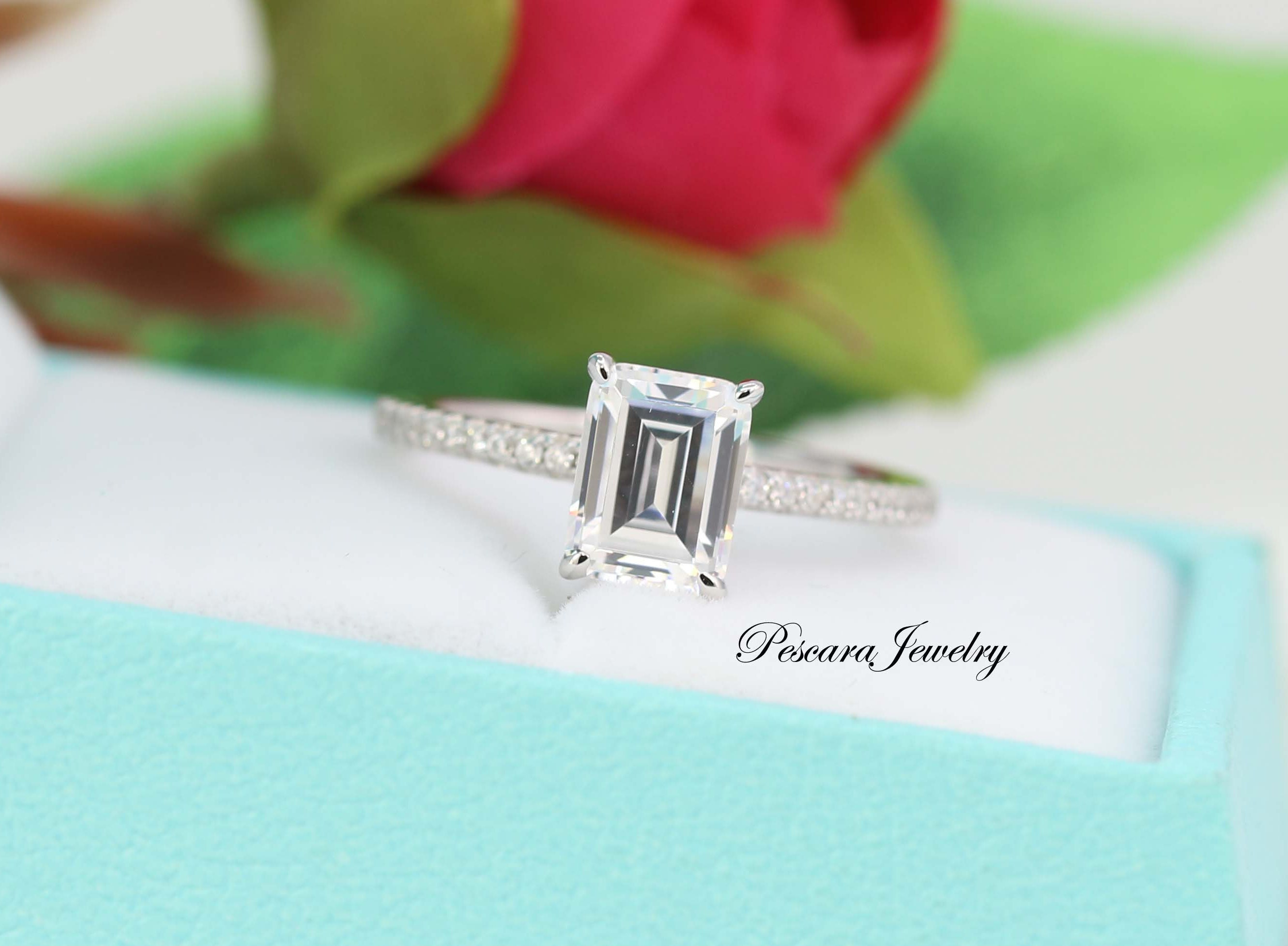 8X6 MM Emerald Cut Diamond Stimulant Engagement Ring Stackable Ring Solid 925 Sterling Silver Solitaire Ring 2Ct promise ring