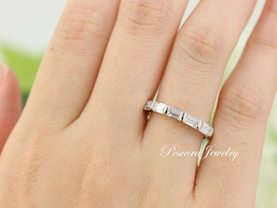 0.9ctw Sterling Silver Baguette Wedding Band Stackable Band   Etsy