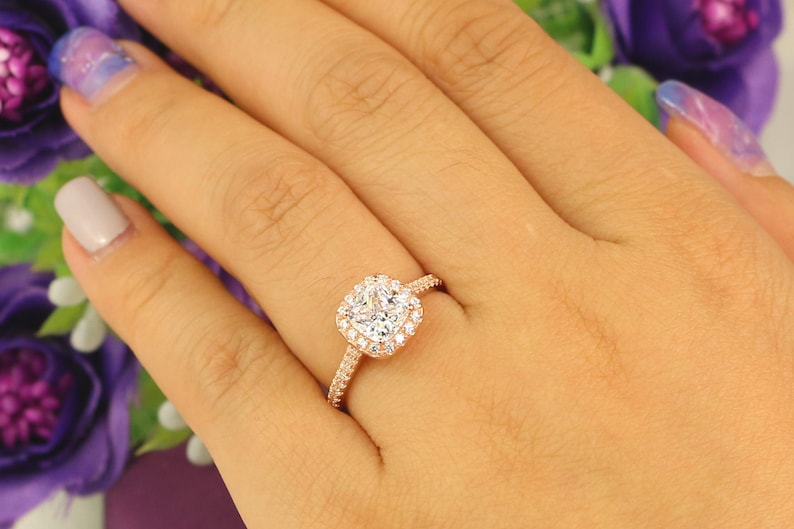 Bridal Ring Cushion Cut Ring 1.3 ct.tw  Rose Gold Engagement Ring Sterling Silver Ring Halo Ring Rose Gold Ring