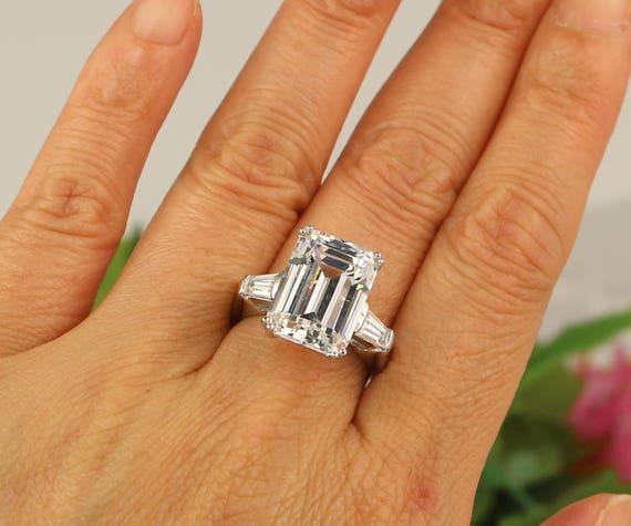 8 Carat Emerald Cut Ring Huge Engagement Ring 3 Stone Ring Etsy