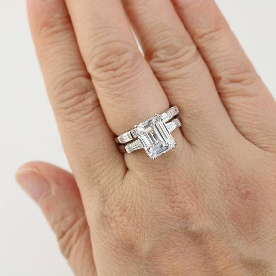 6 3ctw Wedding Ring Set 5 Carat Emerald Cut Ring Engagement Etsy