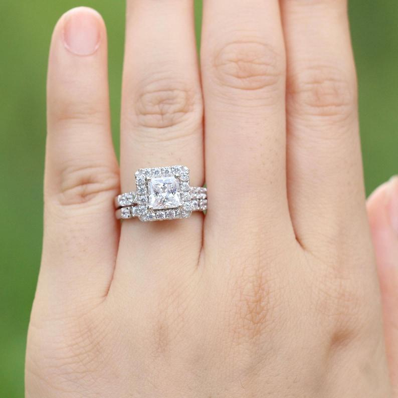 Princess Cut Halo Wedding Ring Set Bridal Set Engagement Ring Cubic Zirconia Halo Ring Princess Cut Ring Promoise Ring Silver Cz Ring