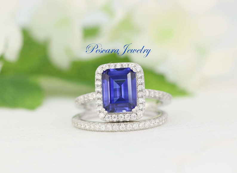 e10dae03b2b86 Blue Sapphire Ring September Birthstone Ring Emerald Cut Sapphire  Engagement Ring Emerald Halo Ring Promise Ring Blue Sapphire Simulated