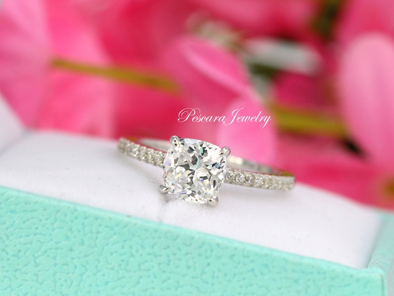 6c923081f175d 2 Carat (7mm) Cushion Engagement Ring, Cushion Solitaire Ring, Promise  Ring, Anniversary Ring, CZ Cushion Cut Ring, Sterling Silver