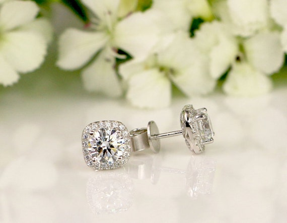 d3878d1c9 2 CT Halo Stud earrings Sterling Silver Bridal earings | Etsy