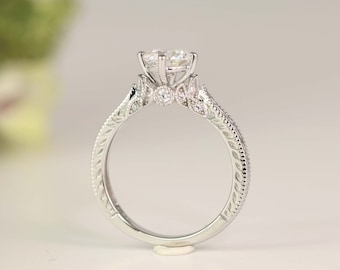 Art Deco Engagement Ring - Vintage Inspire Ring - Antique Style - Round Cut Solitaire Ring - 1 Carat - Sterling Silver (size 3.5~10)