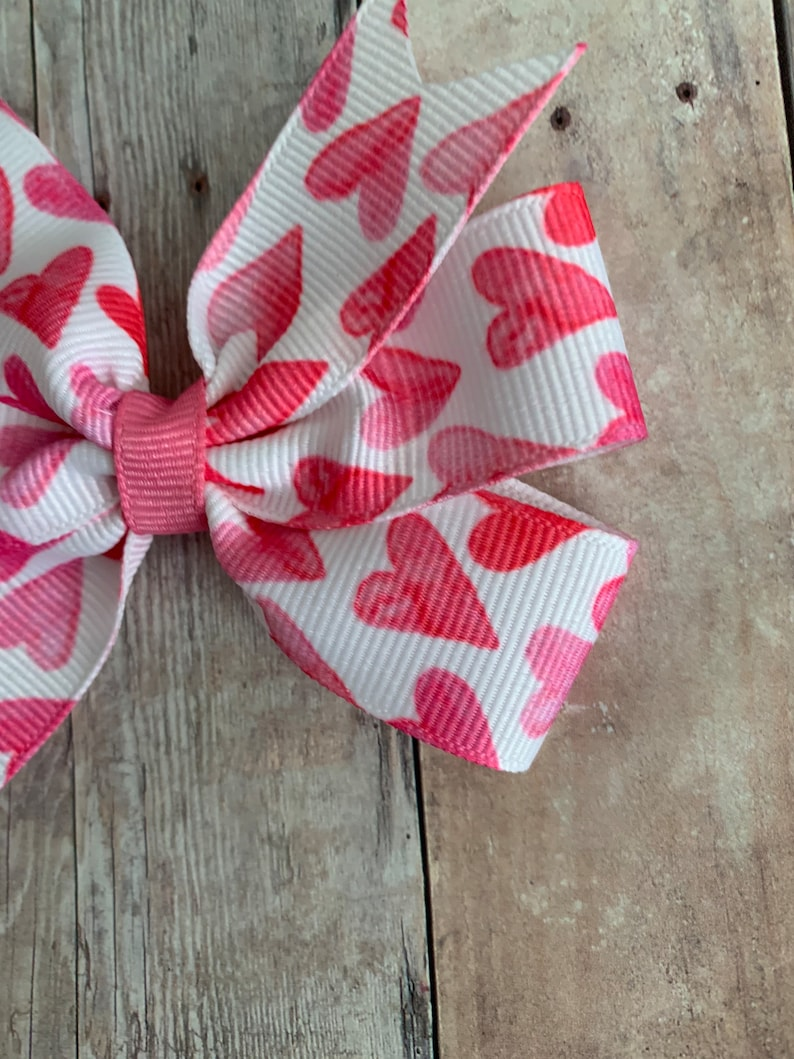 Valentines Day Bow Heart Bow Pink Valentines Bow Hearts Pinwheel Bows Heart Clippies Pink Hair Bow Heart Pigtail Bows Pink Heart Bow