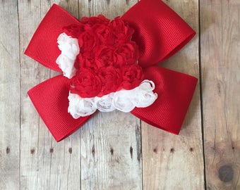 Santa Hat Bow, Christmas Bow, Santa Hat, Santa Hair Bow
