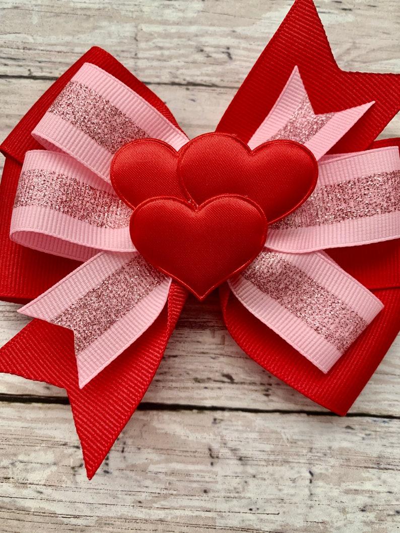 Valentine\u2019s Day bow Red Velvet Chunky Glitter