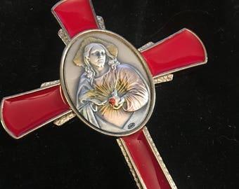 Sacred Heart Of Jesus Cross ITALY Red Enamel CRUCIFIX Catholic Silver Style Finish on Image