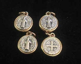 Lot of 4 Saint Benedict Medal Double Sided Catholic Medal 1/2 Inch round