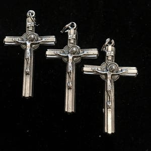 wings 2  pendants from Bad Girl Castings Gothic rosary cross black cross winged heart dagger 40mm antiqued black pewter