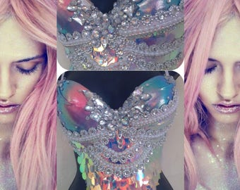 f1a31e7a19 Sunset Scales Mermaid Bra- rave bra