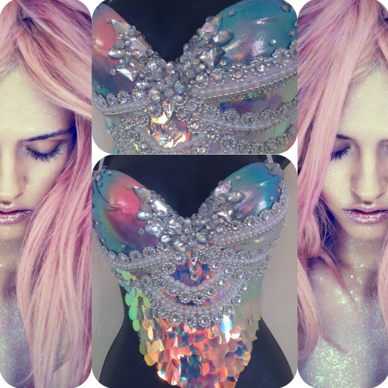 f1fc454716508 Sunset Scales Mermaid Bra rave bra halloween costume edm