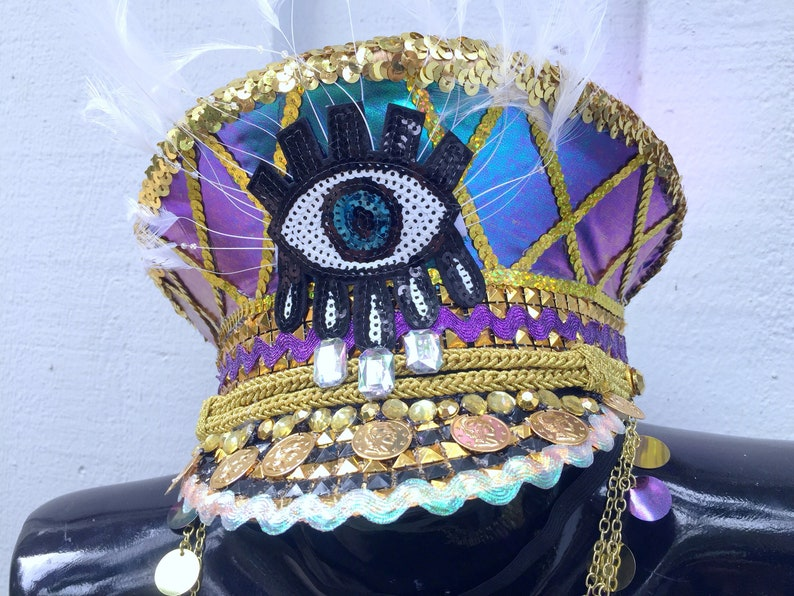 d1645bd92114d Gold Third Eye Gypsy Captain s Hat  festival hat military