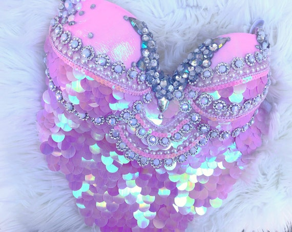 siren costume edm festival sequins halloween edc rhinestone 36C34D disney Pink Mermaid Bra- rave bra pastel orange seashell