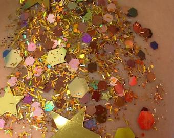 Desert Disco (Chunky Loose Glitter ~6 grams): face, makeup, hair, nail art, festival glitter, costume, rave , nude, brown, stars