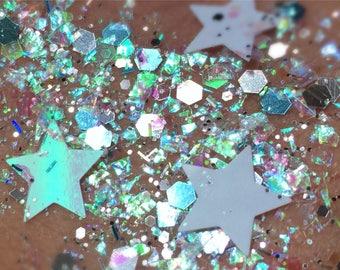 Cosmic Comet (Chunky Loose Glitter ~6 grams): face, makeup, hair, nail art, festival glitter, costume, unicorn, pink rave makeup, body