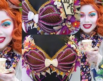 Mad Hatter Mermaid Seashell Bra-  Alice in wonderland, rave bra, halloween, costume, edm, festival, beyond wonderland, siren, edc