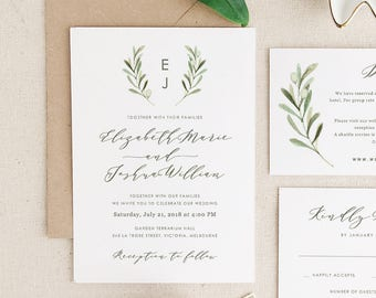 Greenery Wedding Invitation Template, Printable Wedding Invitation Suite, Olive Wedding, Calligraphy | Edit in Word or Pages