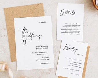 Minimal wedding invitation, Simple wedding invitation, Wedding invitation template download, Editable Wedding PDF