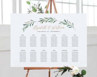 Greenery Wedding Seating Chart Template, Printable Seating Chart, Wedding Seating Plan | Edite in Word and Pages