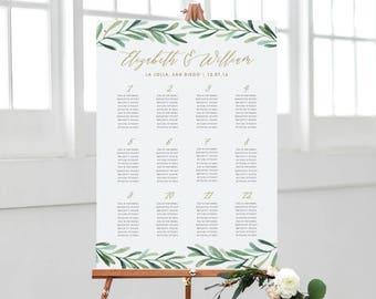 Greenery Wedding Seating Chart, Printable Seating Chart Template, Wedding Seating Plan, Table Numbers | Edit in Word and Pages
