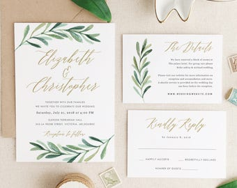 Wedding invitations etsy greenery wedding invitation template printable wedding invitations invitation suite edit in word or pages stopboris