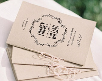Wedding Programs Template, Printable Wedding Program, Folded Programs, Order of Service, Order of Ceremony | Editable in Word and Pages