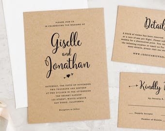 Wedding Invitation Template, Printable Wedding Invitation, Rustic Wedding, Heart Arrow Invitations   Edit in Word or Pages