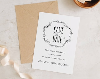 Greenery Save The Dates Template Printable Save The Date Etsy