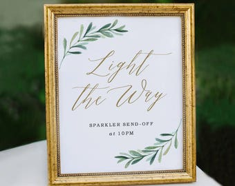 Light the Way Sign, Sparkler Send Off Sign, Wedding Signs, Let Love Shine Sign, Let Love Sparkle | Edit in Word and Pages