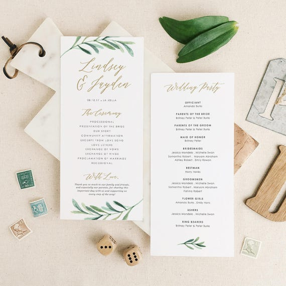 Greenery Wedding Programs Template Printable Wedding Program | Etsy